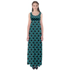 Scales2 Black Marble & Turquoise Colored Pencil (r) Empire Waist Maxi Dress