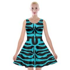 Skin2 Black Marble & Turquoise Colored Pencil (r) Velvet Skater Dress