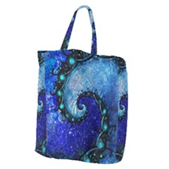 Nocturne Of Scorpio, A Fractal Spiral Painting Giant Grocery Zipper Tote by beautifulfractals