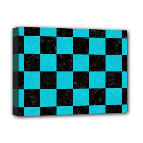 Square1 Black Marble & Turquoise Colored Pencil Deluxe Canvas 16  X 12   by trendistuff