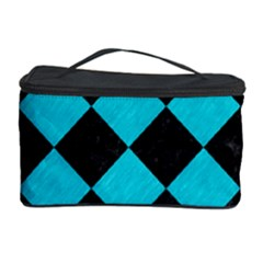 Square2 Black Marble & Turquoise Colored Pencil Cosmetic Storage Case by trendistuff