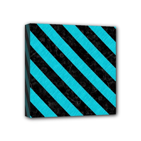 Stripes3 Black Marble & Turquoise Colored Pencil Mini Canvas 4  X 4  by trendistuff