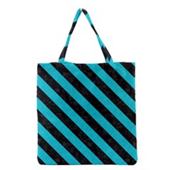 Stripes3 Black Marble & Turquoise Colored Pencil Grocery Tote Bag by trendistuff
