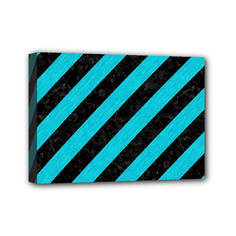Stripes3 Black Marble & Turquoise Colored Pencil (r) Mini Canvas 7  X 5  by trendistuff