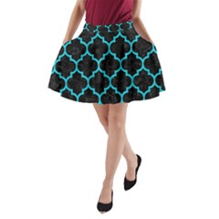 Tile1 Black Marble & Turquoise Colored Pencil (r) A Line Pocket Skirt