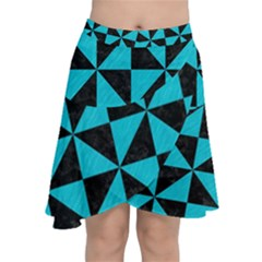 Triangle1 Black Marble & Turquoise Colored Pencil Chiffon Wrap