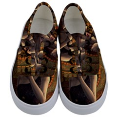Wonderful Steampunk Women With Clocks And Gears Kids  Classic Low Top Sneakers