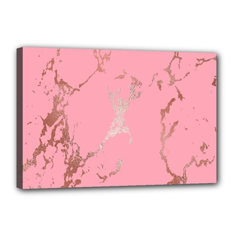 Luxurious Pink Marble Canvas 18  X 12  by tarastyle