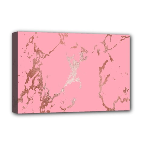 Luxurious Pink Marble Deluxe Canvas 18  X 12   by tarastyle