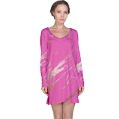 Luxurious Pink Marble Long Sleeve Nightdress by tarastyle