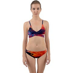 Abstract Acryl Art Wrap Around Bikini Set