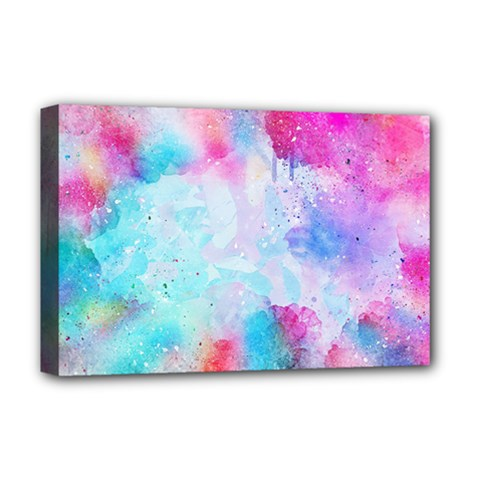 Pink And Purple Galaxy Watercolor Background  Deluxe Canvas 18  X 12   by paulaoliveiradesign