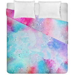 Pink And Purple Galaxy Watercolor Background  Duvet Cover Double Side (california King Size) by paulaoliveiradesign