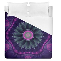 Beautiful Hot Pink And Gray Fractal Anemone Kisses Duvet Cover (queen Size) by beautifulfractals