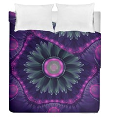 Beautiful Hot Pink And Gray Fractal Anemone Kisses Duvet Cover Double Side (queen Size) by beautifulfractals