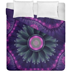 Beautiful Hot Pink And Gray Fractal Anemone Kisses Duvet Cover Double Side (california King Size) by beautifulfractals