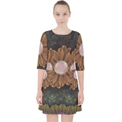 Abloom In Autumn Leaves With Faded Fractal Flowers Pocket Dress by jayaprime