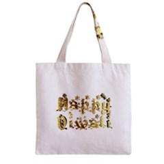Happy Diwali Gold Golden Stars Star Festival Of Lights Deepavali Typography Zipper Grocery Tote Bag by yoursparklingshop