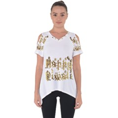 Happy Diwali Gold Golden Stars Star Festival Of Lights Deepavali Typography Cut Out Side Drop Tee by yoursparklingshop