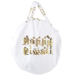 Happy Diwali Gold Golden Stars Star Festival Of Lights Deepavali Typography Giant Round Zipper Tote by yoursparklingshop