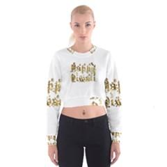 Happy Diwali Gold Golden Stars Star Festival Of Lights Deepavali Typography Cropped Sweatshirt by yoursparklingshop