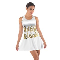 Happy Diwali Gold Golden Stars Star Festival Of Lights Deepavali Typography Cotton Racerback Dress by yoursparklingshop