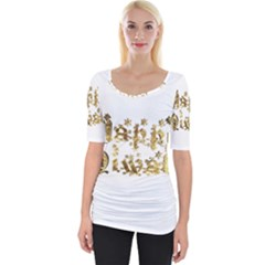 Happy Diwali Gold Golden Stars Star Festival Of Lights Deepavali Typography Wide Neckline Tee by yoursparklingshop