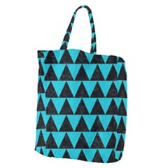 Triangle2 Black Marble & Turquoise Colored Pencil Giant Grocery Zipper Tote by trendistuff
