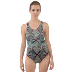 Art Deco Teal Brown Cut Out Back One Piece Swimsuit by 8fugoso