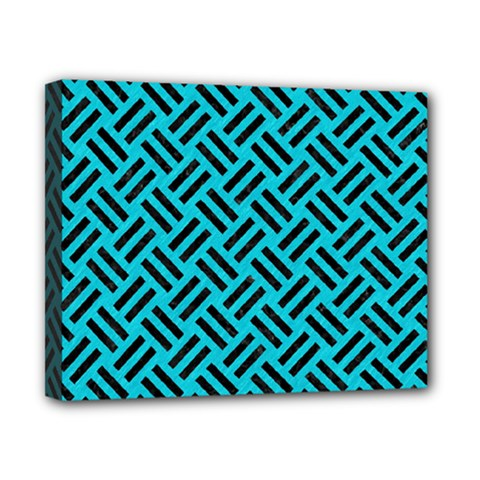 Woven2 Black Marble & Turquoise Colored Pencil Canvas 10  X 8  by trendistuff