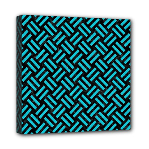 Woven2 Black Marble & Turquoise Colored Pencil (r) Mini Canvas 8  X 8  by trendistuff