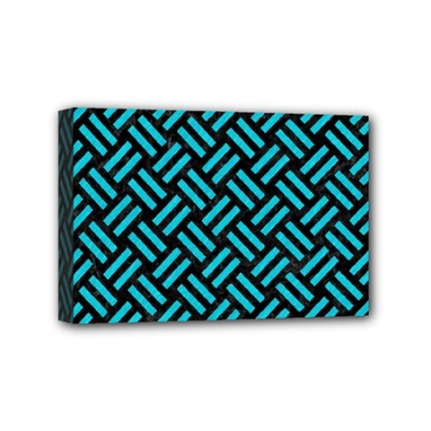 Woven2 Black Marble & Turquoise Colored Pencil (r) Mini Canvas 6  X 4  by trendistuff