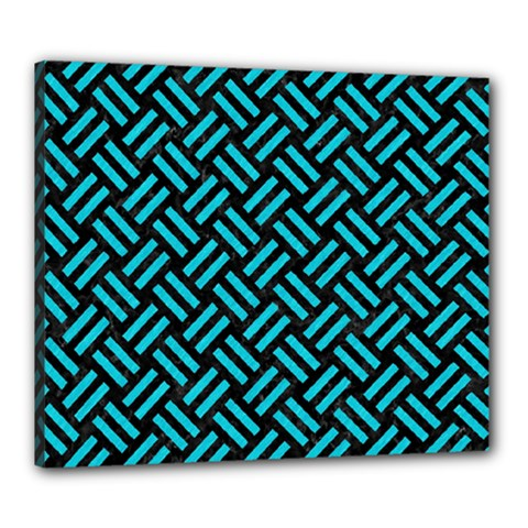 Woven2 Black Marble & Turquoise Colored Pencil (r) Canvas 24  X 20  by trendistuff