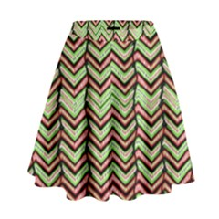 Zig Zag Multicolored Ethnic Pattern High Waist Skirt by dflcprintsclothing