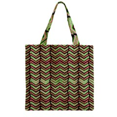 Zig Zag Multicolored Ethnic Pattern Zipper Grocery Tote Bag by dflcprintsclothing