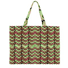 Zig Zag Multicolored Ethnic Pattern Zipper Large Tote Bag by dflcprintsclothing