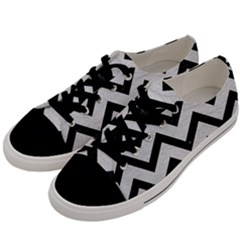 Chevron9 Black Marble & White Leather Men s Low Top Canvas Sneakers by trendistuff