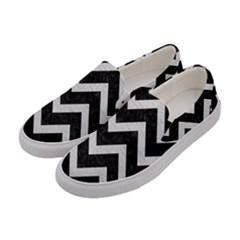 Chevron9 Black Marble & White Leather (r) Women s Canvas Slip Ons by trendistuff