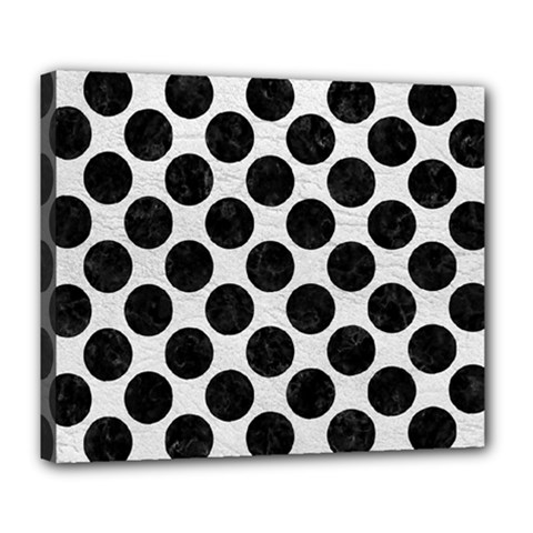 Circles2 Black Marble & White Leather Deluxe Canvas 24  X 20   by trendistuff