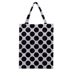 Circles2 Black Marble & White Leather Classic Tote Bag by trendistuff