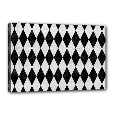 Diamond1 Black Marble & White Leather Canvas 18  X 12  by trendistuff