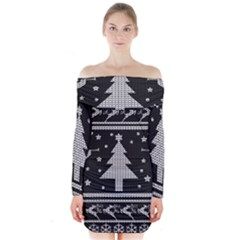 Ugly Christmas Sweater Long Sleeve Off Shoulder Dress by Valentinaart