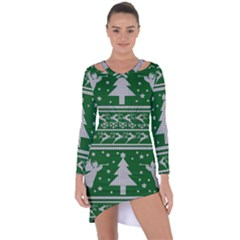 Ugly Christmas Sweater Asymmetric Cut Out Shift Dress by Valentinaart