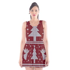 Ugly Christmas Sweater Scoop Neck Skater Dress by Valentinaart