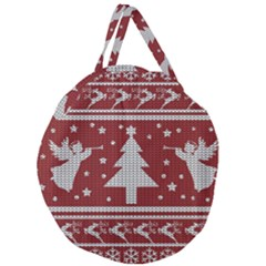 Ugly Christmas Sweater Giant Round Zipper Tote by Valentinaart