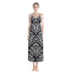 Damask1 Black Marble & White Leather (r) Button Up Chiffon Maxi Dress