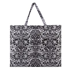 Damask2 Black Marble & White Leather Zipper Large Tote Bag by trendistuff