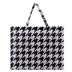 Houndstooth1 Black Marble & White Leather Zipper Large Tote Bag by trendistuff
