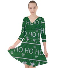 Ugly Christmas Sweater Quarter Sleeve Front Wrap Dress	 by Valentinaart