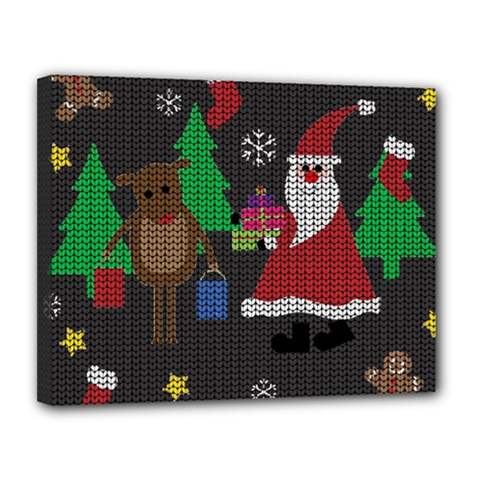 Ugly Christmas Sweater Canvas 14  X 11  by Valentinaart